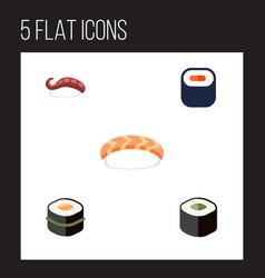 Flat icon maki set of seafood sashimi maki and vector
