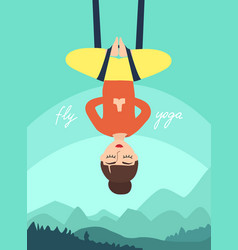 Fly yoga girl in lotus position vector