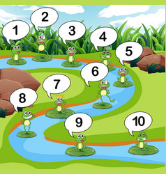 Frog count number at pond vector