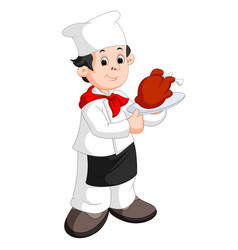 Funny cartoon chef with roast vector