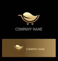 gold leaf organic cart logo vector image