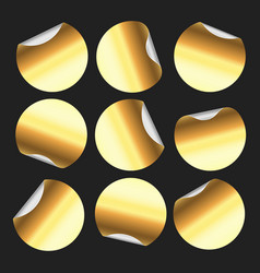 golden round sticker circle stickers gold vector image