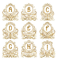 Golden vintage monograms letters from a to i vector