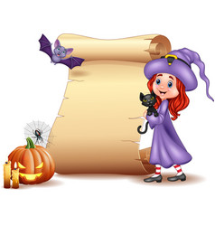 Halloween sign with little witch bat spider can vector
