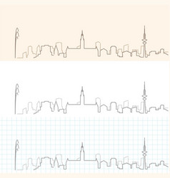 hamburg hand drawn skyline vector image
