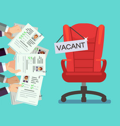 Hands holds cv forms and office chair with vacancy vector