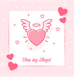 Heart wings halo valentine card angel love text vector