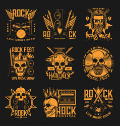 Heavy metal hard rock music band concert skulls vector