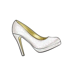 High heeled glittering elegant white colored vector image