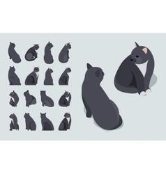 Isometric black sitting cat vector image