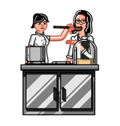 kitchen worker woman vector image