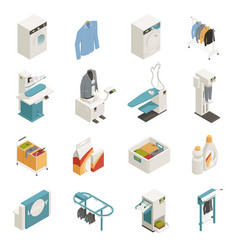laundry equipment isometric set vector image