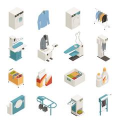Laundry equipment isometric set vector