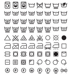 Laundry symbols washing icons vector