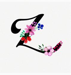 Letter z watercolor floral background vector