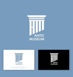 logo antic museum art column business company vector image