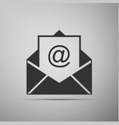 mail and e-mail icon isolated on grey background vector image