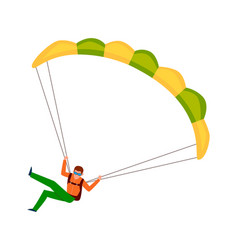 man jump with parachute active lifestyle hobby vector image
