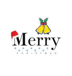 merry christmas icon in colorful vector image