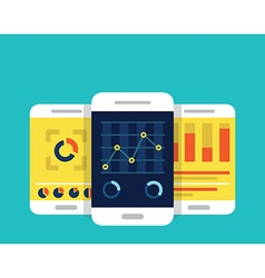 Mobile dashboards with analytics information vector image