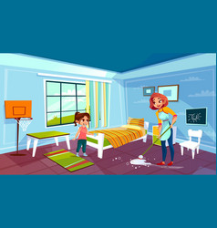mother and daughter cleaning room vector image
