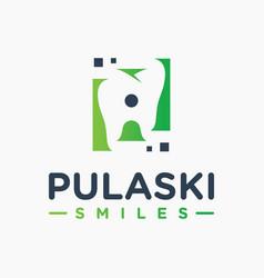 natural dental health modern logo vector image