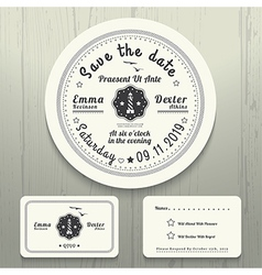 Nautical wedding invitation and rsvp round card vector
