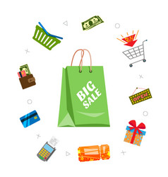 Online shopping and sale items around sale bag vector