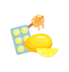 package of lozenges with honey and lemon fruit vector image