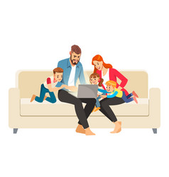 portrait a jolly family using a laptop sitting vector image