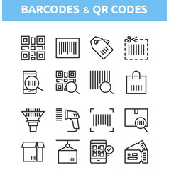 qr code and barcode icons vector image