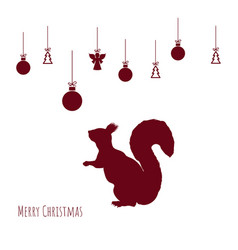 red silhouette squirrel with christmas balls vector image
