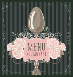 Restaurant menu with spoon and pink roses vector