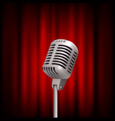 retro microphone on stage professional stand up vector image