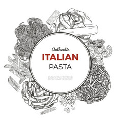 round poster with hand drawn pasta vector image