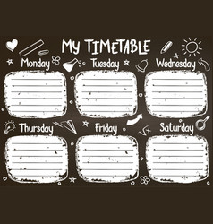 school timetable template on chalk board vector image