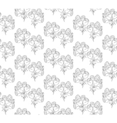 Seamless black and white pattern of roses vector image