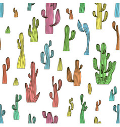 Seamless cactus pattern from saguaro cactus vector