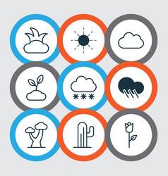 Set 9 harmony icons includes bush snowstorm vector