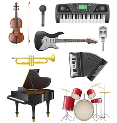 Set musical instruments 01 vector