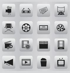 Set of 16 editable movie icons includes symbols vector