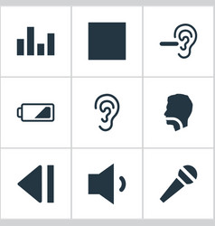 set of simple audio icons vector image