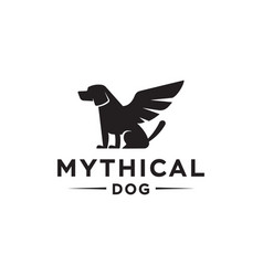 Simargl dog with wings angel dog logo design vector