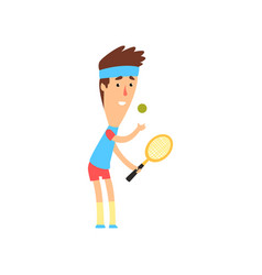 Smiling guy with racket ready to serve tennis ball vector