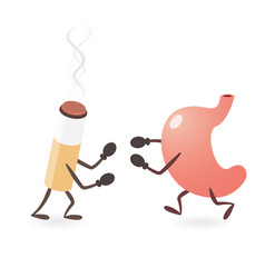 Stomach and cigarette fighting vector