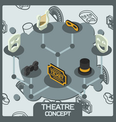 theatre color concept isometric icons vector image