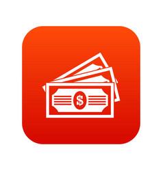 three dollar bills icon digital red vector image