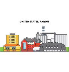 United states akron city skyline architecture vector