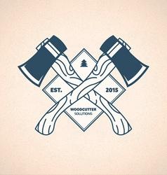 Vintage Lumberjack Label Woodcutter Emblem vector