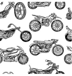 vintage motorcycles seamless pattern bicycle vector image